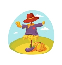 Scarecrow in clothes standing on a field with vector