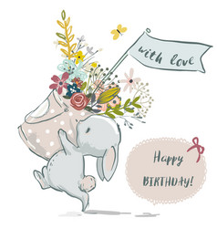 cute little bunny with flower wreath vector image