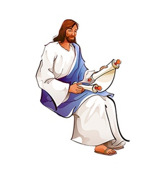 Side view of jesus christ holding paper vector
