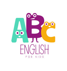 English for kids logo symbol colorful hand drawn vector