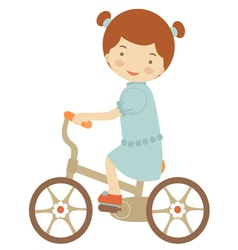 Little girl on bicycle vector