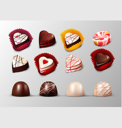 Realistic confectionery and pastry elements set vector