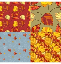 Set of four autumn leaves backgrounds vector