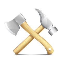 Hammer and ax vector
