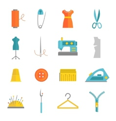 Sewing equipment icons set flat vector image