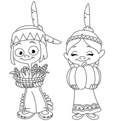 outlined american indian children vector image