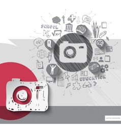 Paper and hand drawn photo camera emblem with vector