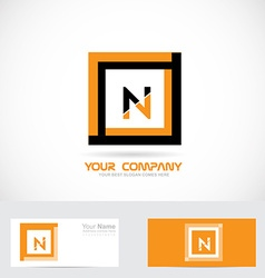 Letter n orange black square logo vector