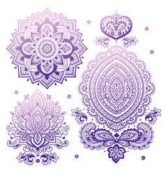 Set of indian floral ornaments mandala henna vector