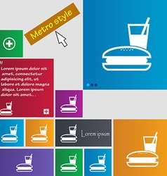 Lunch box icon sign buttons modern interface vector
