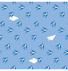 Swallow in the sky pattern vector