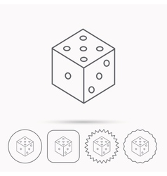 Dice icon casino gaming tool sign vector