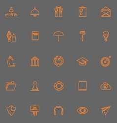Job resume line icons orange color vector