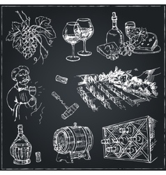 Set of wine drawings sketches hand-drawing vector