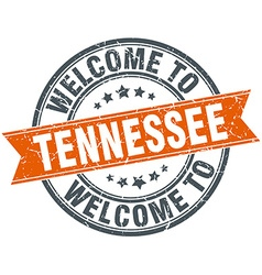 Welcome to tennessee orange round ribbon stamp vector