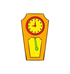 Yellow grandfather clock icon cartoon style vector