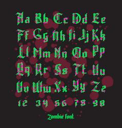 Acid zombie gothic font set vector