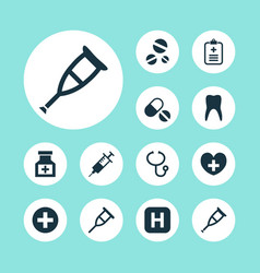 Antibiotic icons set collection of plus analyzes vector