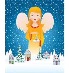 Blessing of Christmas angel vector image vector image