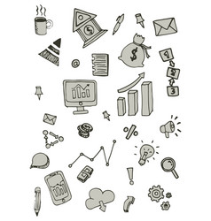 Business doodle icon design free hand vector