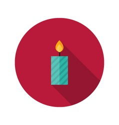 Christmas Stripped Candle Flat Icon vector image vector image
