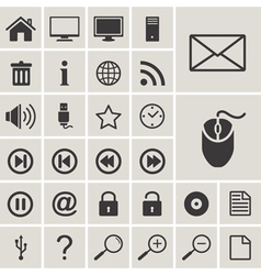 Computer and internet web icons set vector image