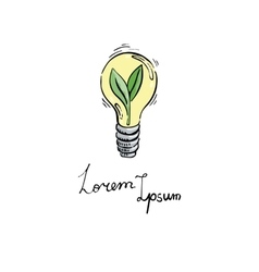 Concept with eco light bulb in doodle style vector