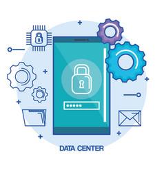 Data center mobile phone security password vector