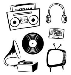 doodle items for entertainment vector image vector image
