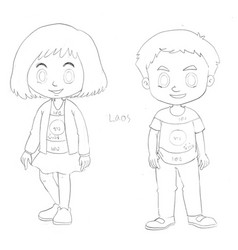 Drafting characters for kids from laos vector
