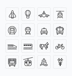 Flat icons set transportation outline concept vector