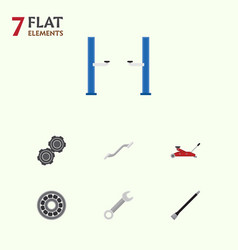 Flat workshop set of pipeline auto jack spanner vector