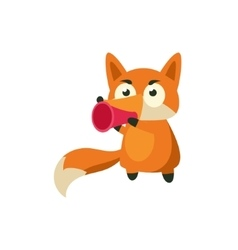 Fox Talking In Megaphone vector image vector image