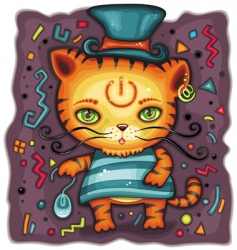 funny tiger in top hat vector image