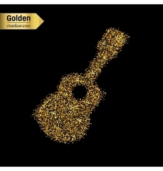Gold glitter icon of guitar isolated on vector