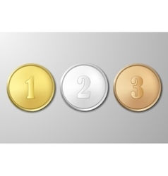 Gold silver and bronze award medals set on vector