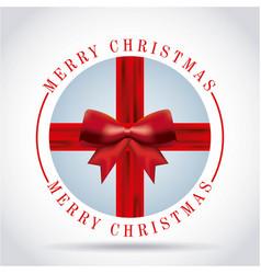 merry christmas card red ribbon bow badg vector image vector image