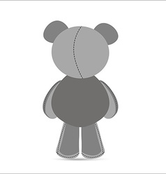 Rear view of grey teddy bear in vector image