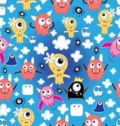 seamless pattern bright fun little monsters vector image vector image