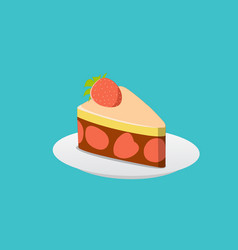 strawberry cake with chocolate cream vector image vector image