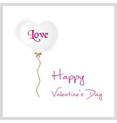 White helium balloon heart shape valentine card vector