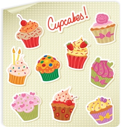 cupcakes stick vector image