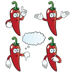 Thinking chili pepper set vector