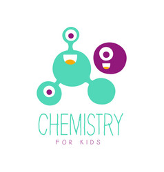 Chemistry for kids logo symbol colorful hand vector
