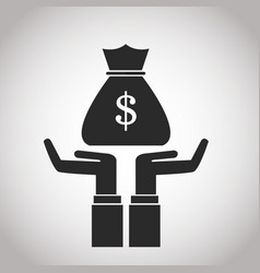 Hand with bag money cash banking pictogram image vector
