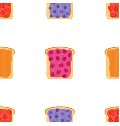 jam on toasts toast with jelly seamless pattern vector image