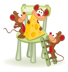Mouse with cheese on a chair vector