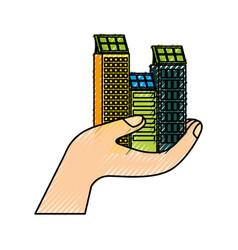 Green energy hand holding building solar panel vector