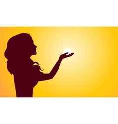 Sunset silhouette of woman vector image