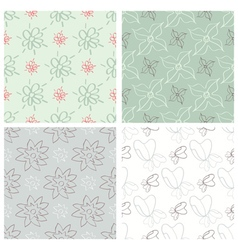 Set of four flower patterns vector image